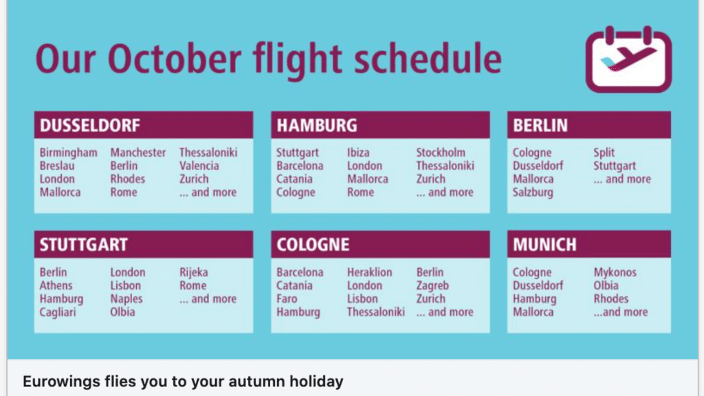 Eurowings Flugstrecken Herbst