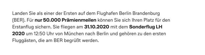 Lufthansa Sonderflüge BER