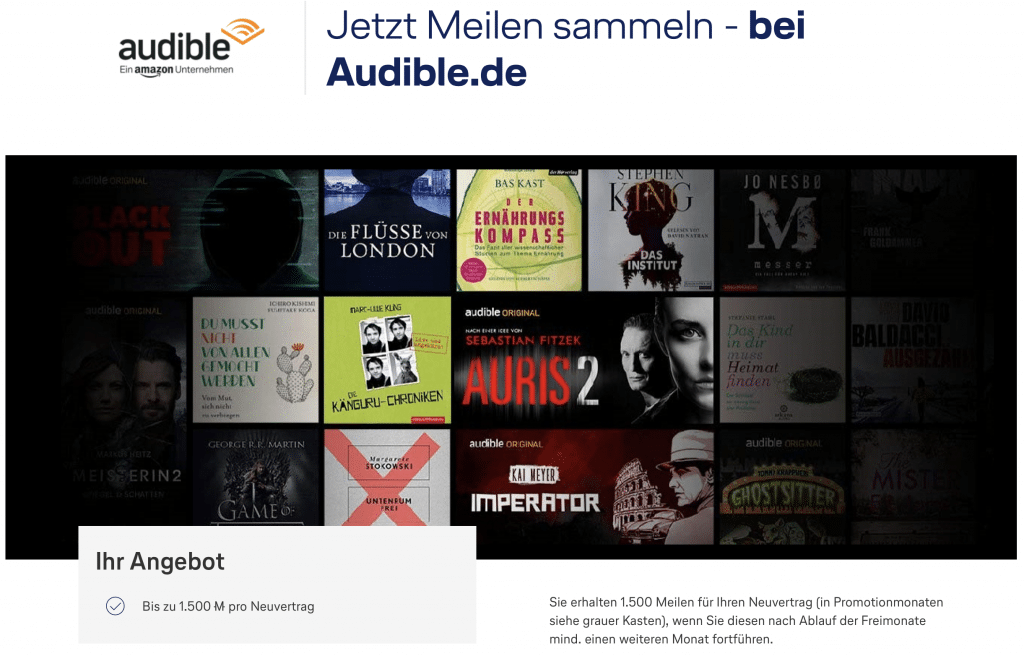 Audible Miles & More Promo
