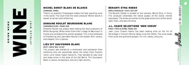 Wine List JetBlue Mint Business Class