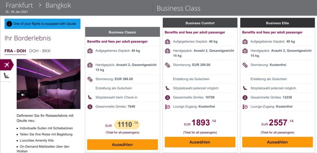 Business Class Classic Tarif Qatar Airways