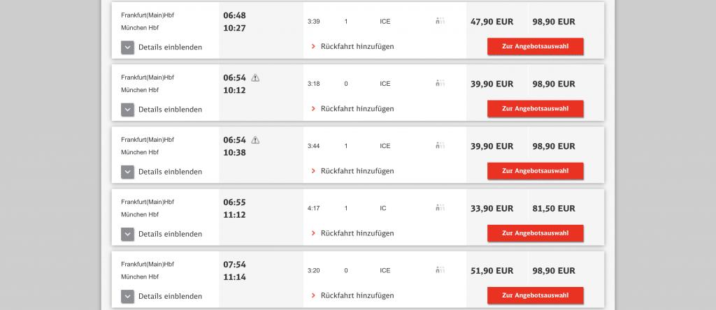 Preisbeispiele der Deutschen Bahn für günstige Zugtickets