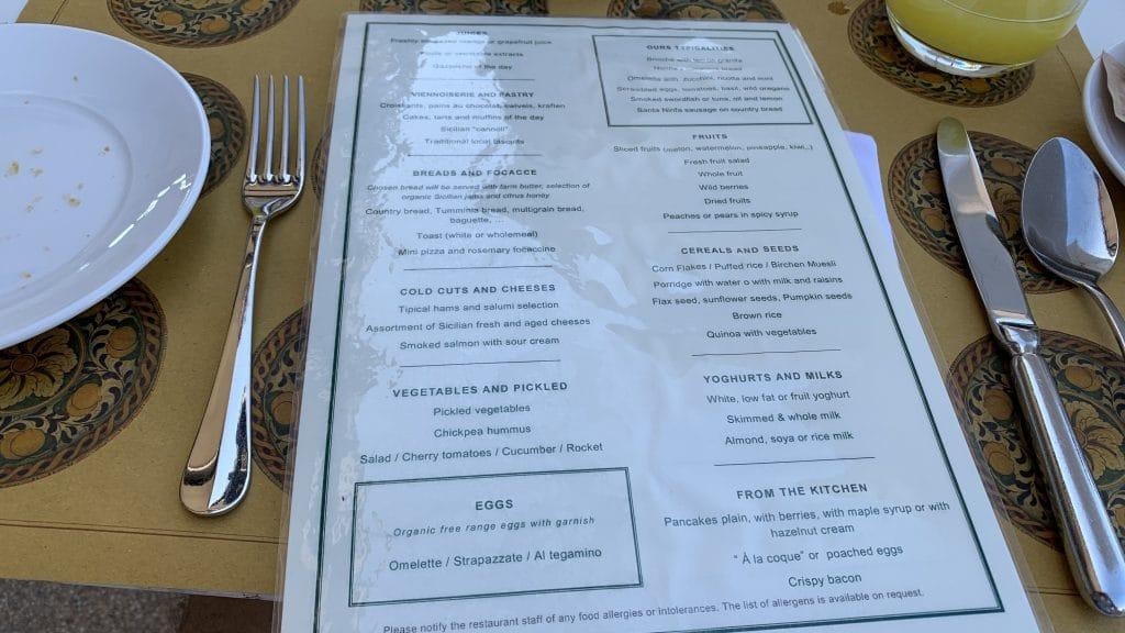Verdura Resort Sizilien Frühstück Karte