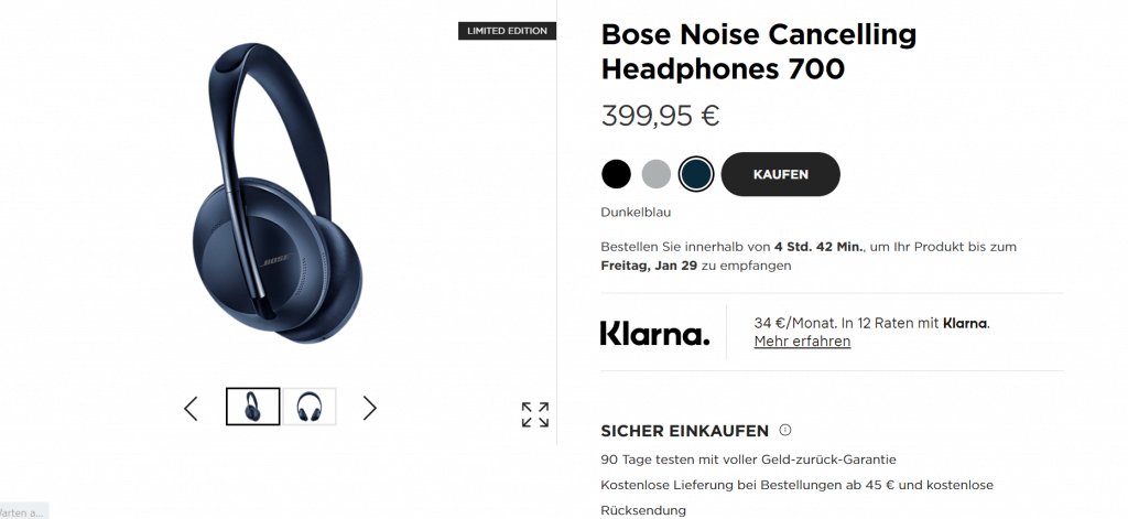 Bose Webseite Screenshot