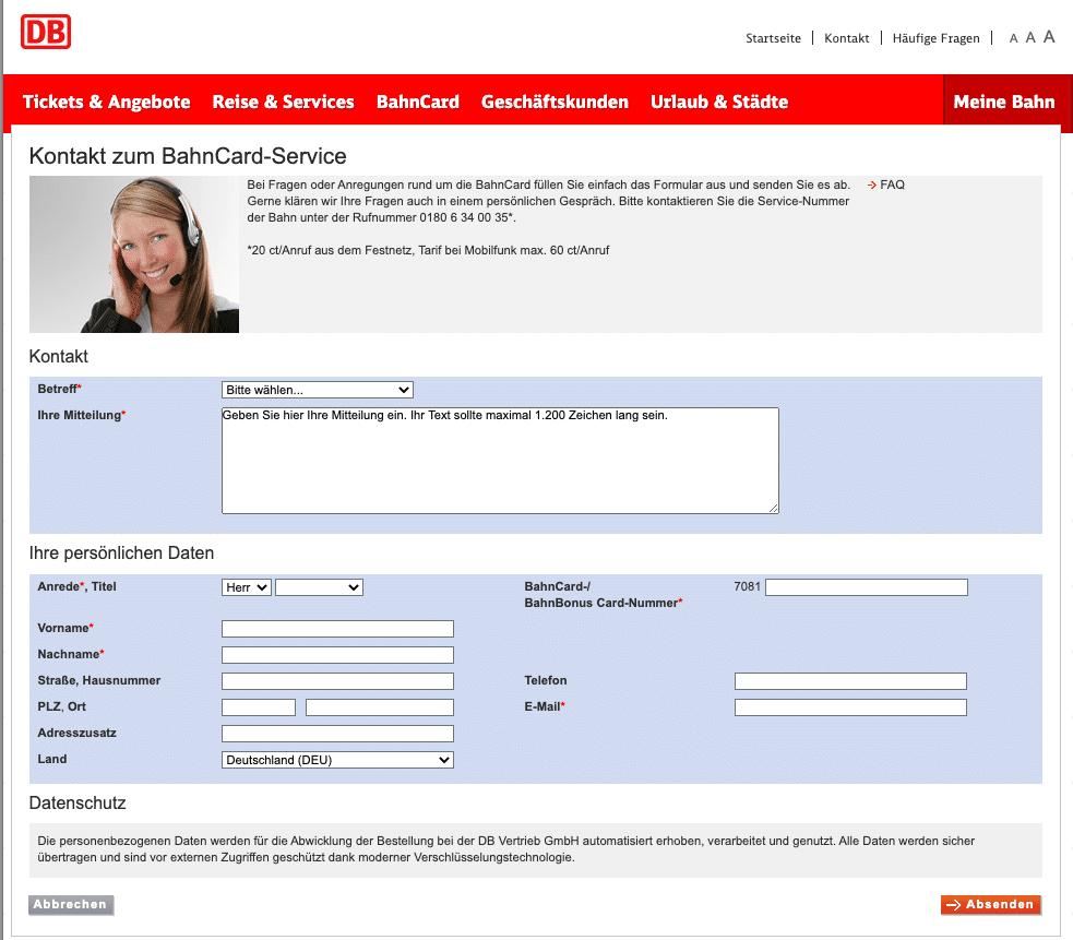 BahnCard Kündigung Online Formular schnell und einfach