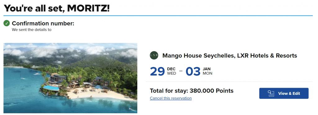 Screenshot Mango House Seychelles Buchung