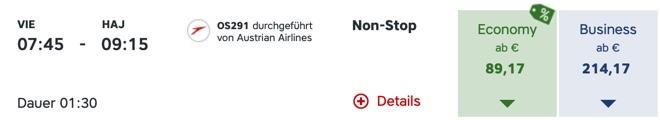 Austrian Airlines HAJ VIE OS291