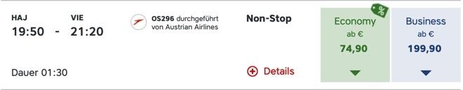Austrian Airlines HAJ VIE OS296