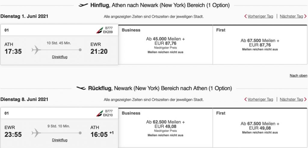 Emirates Athen New York Newark Booking