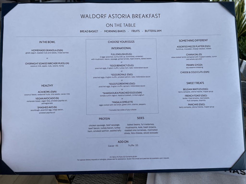Waldorf Astoria Dubai International Financial Centre Frühstückskarte