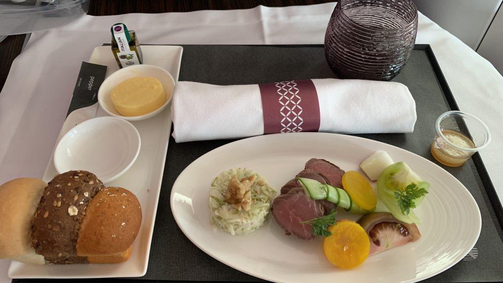 Qatar Airways Business Class Essen Vorspeise