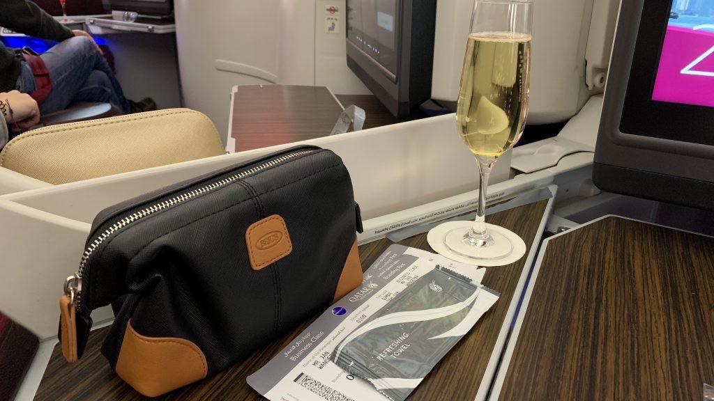 Qatar Ariways Business Class Welcome Drink