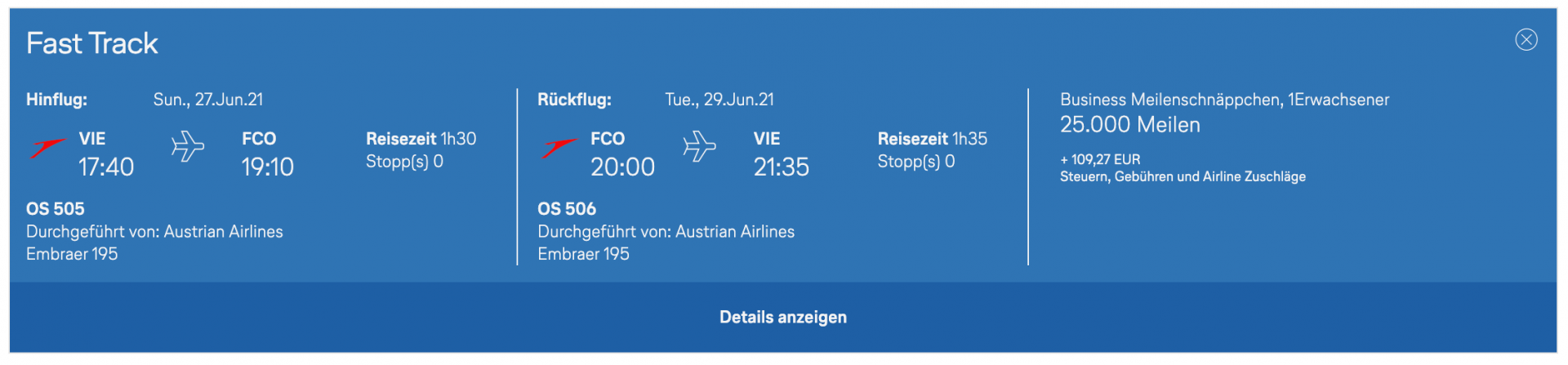Austrian Airlines Meilenschnäppchen Business
