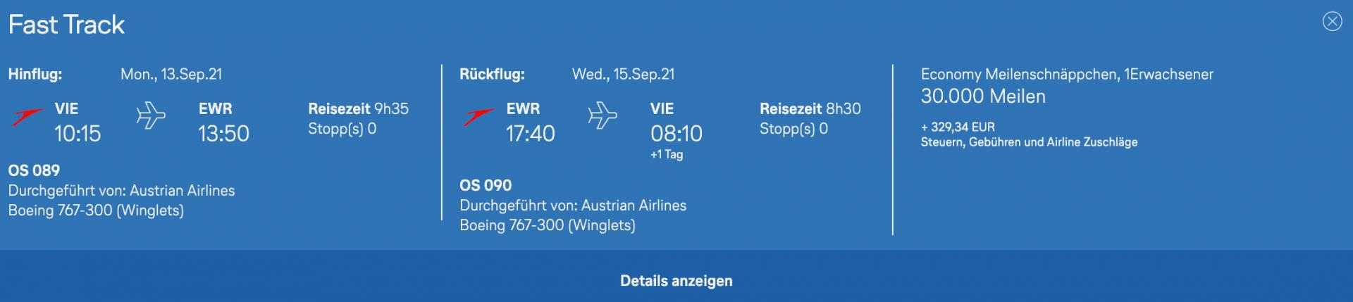 Austrian Langstrecke Meilenschnäppchen