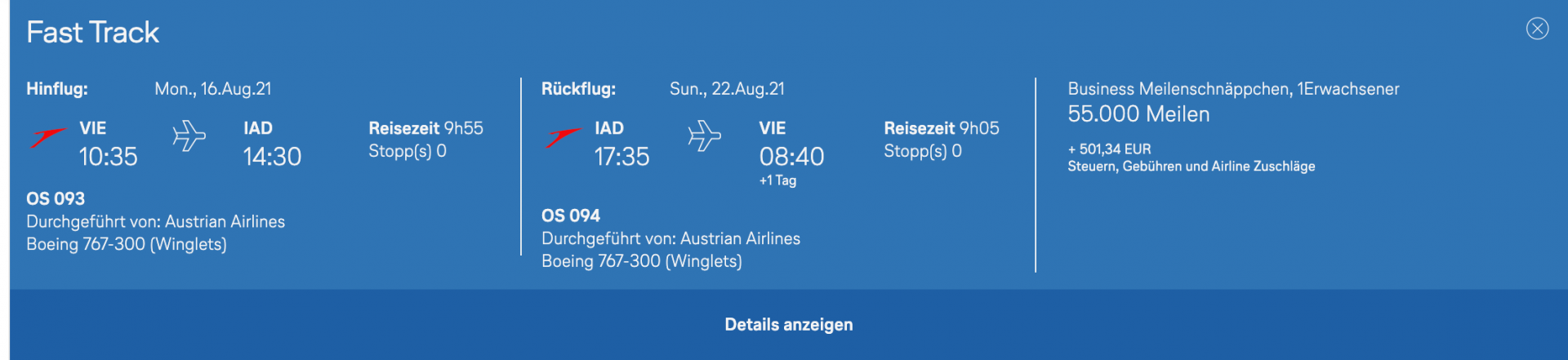 Austrian Meilenschnäppchen Business Class Langstrecke