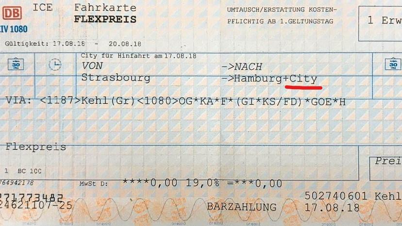 City-Ticket Kennzeichnung auf Fahrkarte