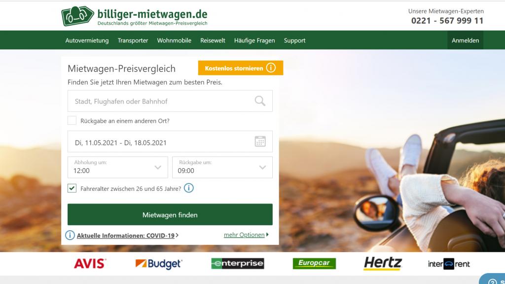 Mietwagen-Preisvergleich Portal über billiger-mietwagen.de