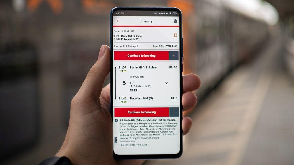 City-Ticket Deutsche Bahn App für den Fahrplan