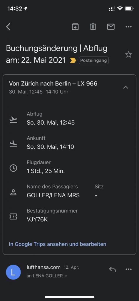 Buchungsänderung Lufthansa1