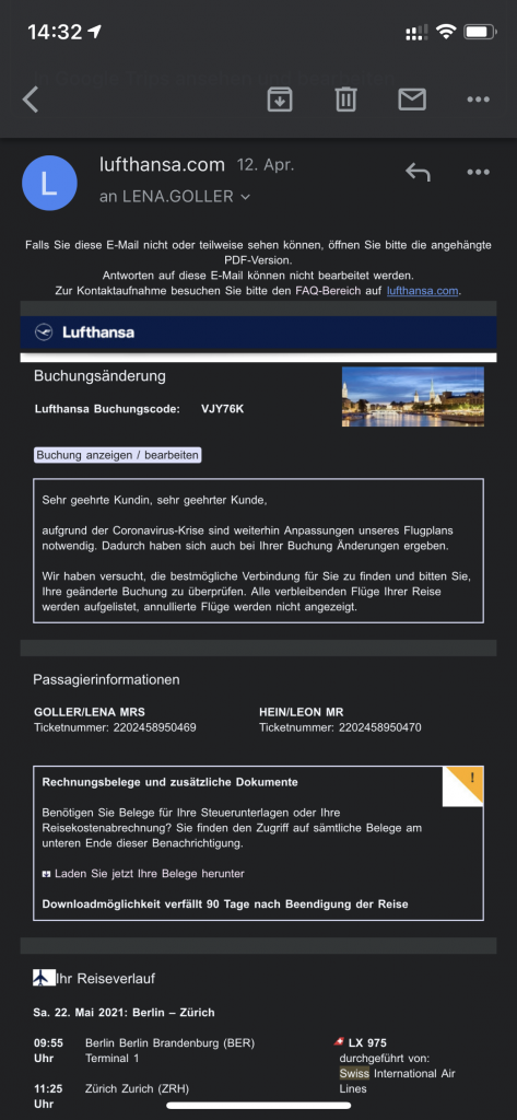 Buchungsänderung Lufthansa3