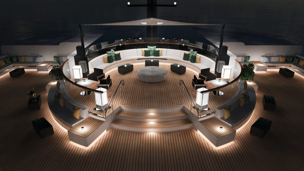 Ritz-Carlton Yacht Collection Outdoor Deck bei Nacht