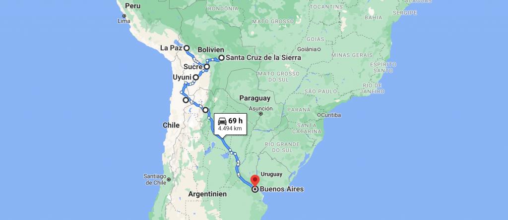 Reiseroute Südamerika