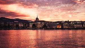 Genf Bei Sonnenuntergang