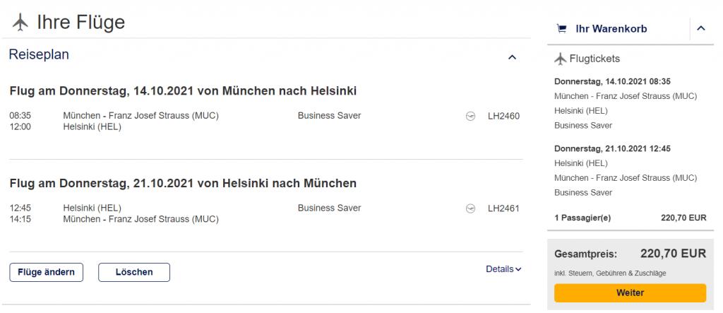Lufthansa Buchungsbeispiele München - Helsinki