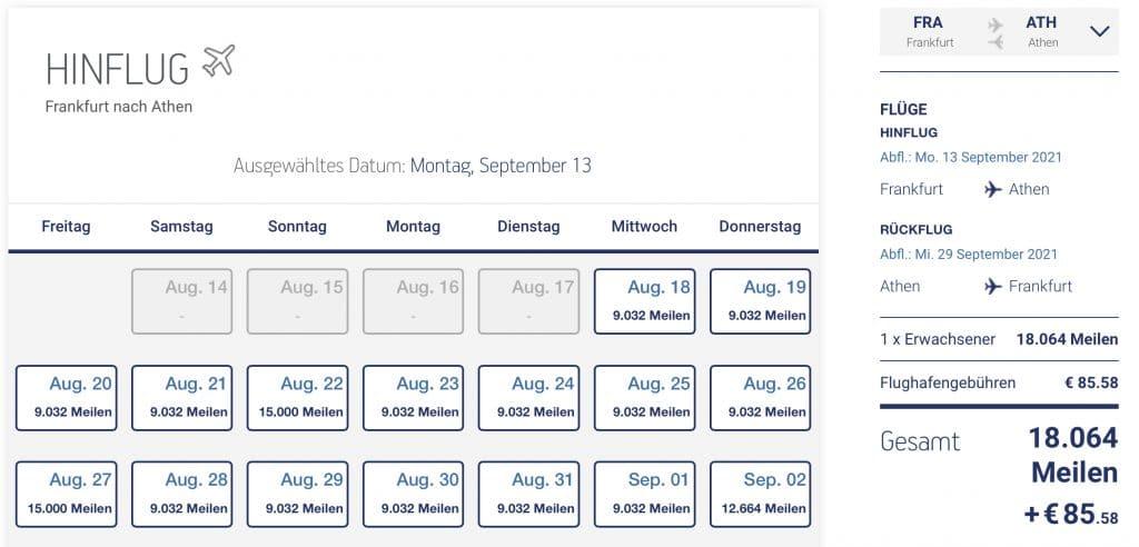 Aegean Airlines Miles+Bonus Beispiel