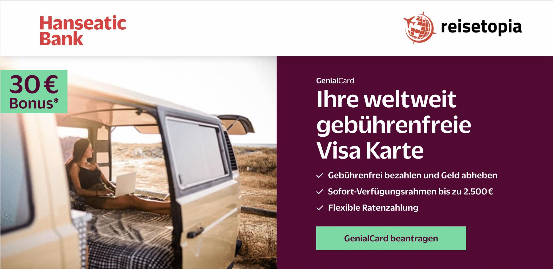 GenialCard Kreditkarte Ohne Jahresgebühr 20 € Guthaben Hanseatic Bank